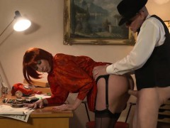 Sexy German redhead with a great booty fucks an old guy for