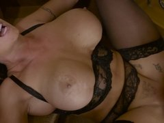 Big-titted housewife is fucked by local chaser