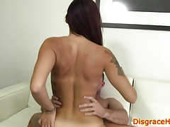 Pussyshaved babe humiliated on the couch