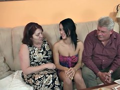 Innocent girl is seduced by granny and fucked by daddy
