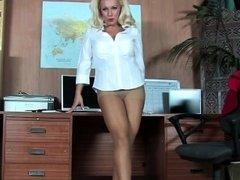 Office blonde has fantastic legs