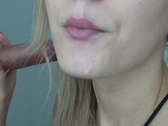 close up blow jow with cumplay and swallow
