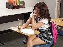 Nice-looking schoolgirl banging her teacher