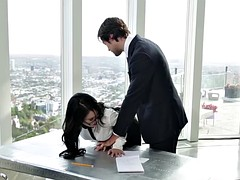 Young secretary punished by her boss
