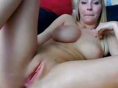 Hot blonde with puffy nipples plays and orgasms