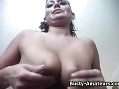 Busty Lesley on hot masturbation