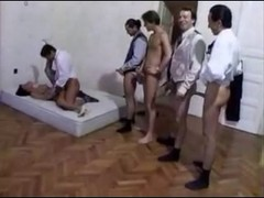 Aged backdoor gangbang on the bed