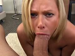 Blonde MILF Blowjob and Cum Swallow