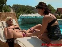 Lesbian sub drilled with strapon toys