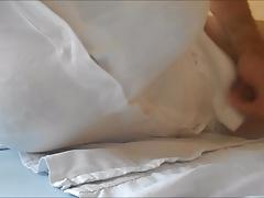 Cumshot on white blouse .