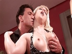 Husband gets man to fuck his sexy blonde wife in restaurant