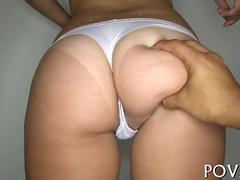 Latina with tan lines shows big ass while fucking doggystyle