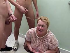 Big granny at crazy pee gangbang with young boys