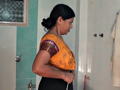 Aunty dress change in room and bathroom