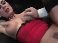 Hot bombshell in stockings rides a dick