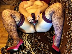 wife plays with sex toys