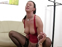 Defeated Slaveboy in chastity device is face fucked by Lara