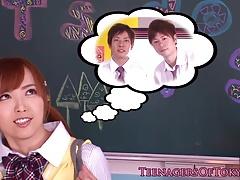 Japanese schoolgirl jerking in classroom gang