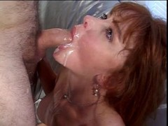 Busty brunette Eager mom gags on hard white dick