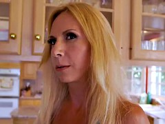 Horny big boobs blonde MILF fucked in interracial threesome