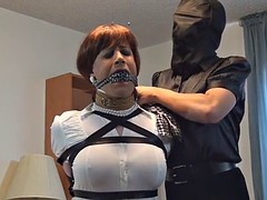 tranny bound and gagged by an intruder