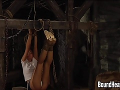 Two Girls Tied Up Hanging Upside Down By Their Feet