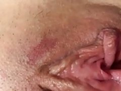 Pussy cum wife's swollen box soaking wet from toy