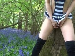 College Teen In Thigh High Boots Rubbing Pussy Outside - Littleandcute