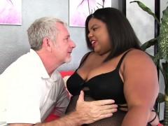 Ebony plumper takes fat white cock