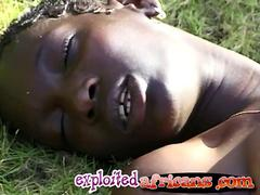 African slut gets fucked hard by big white dick