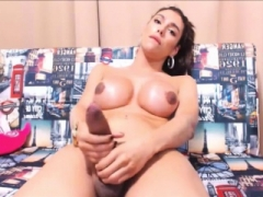 Sizeable Transsexual Ejaculation with No Hands