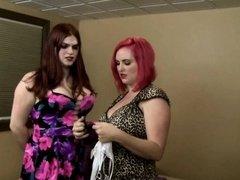 Lesbian tranny drilled curvy female redhead