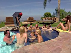 Bunch of nasty swingers oral sex by the pool