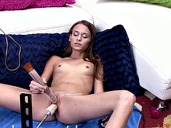 Kacy Lane having fun with machine