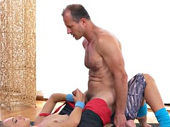 Flexible fit blonde fucks her coach at the gym