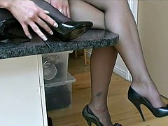 Sexy babes in nylon lingerie and cock teaser high heel shoes