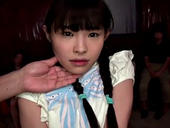 Tiny Japanese babe squirts all over self when her clit is st