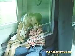 german couple fucks at the train