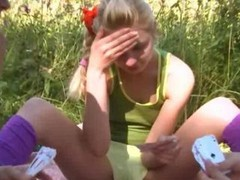Precize amateur 3-way in the grass of 18 complete years aged russian cheerleaders