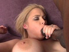 Black cock slut Katie Kox fucks the big boner and cums on it
