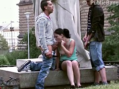 Cute teenage girl fucking in PUBLIC street by famous statue