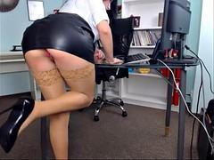 Beautiful girl in her office
