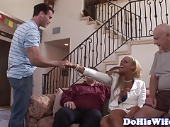 Euro milf facialized in front of husband