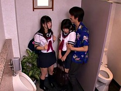 Japanese schoolgirls threeway fuck with dude in restroom