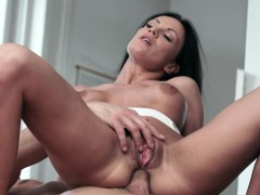 Busty model anally riding cock slowly
