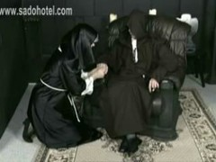 Horny screaming nun got hit on her ass by a old dirty priest