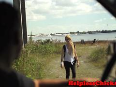 Dominated teen facialized after hitching
