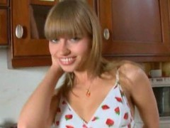 teen housekeeper riding big vibrator in the kitchen on the chair