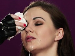 Nasty doll gets cumshot on her face swallowing all the cream