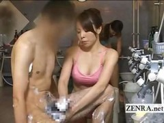 Japan sauna woman gives visitor male orgasm inducing handjob